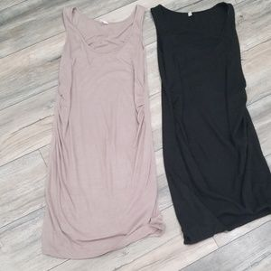 2 pink blushed rouched dresses